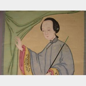 19th Century Chinese Portrait of a Woman with an Opium Pipe