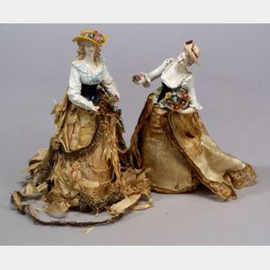 Two Full-Figured Porcelain Half Dolls