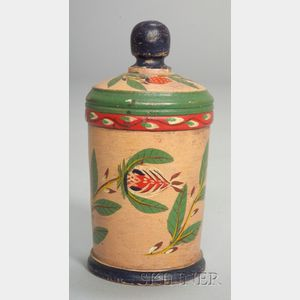 Small Lehnware Painted Covered Canister
