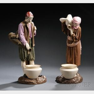 Pair of Royal Worcester Porcelain Eastern Water Carriers