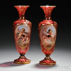 Pair of Bohemian Gilded and Enameled Cranberry Glass Vases