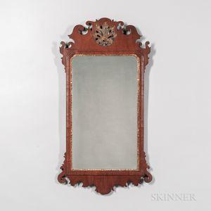 Mahogany Veneer Scroll-frame Looking Glass