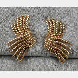 "18kt Gold ""V Rope"" Earclips, Jean Schlumberger, Tiffany & Co."