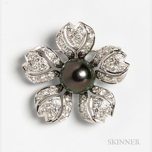 14kt White Gold, Diamond, and Tahitian Pearl Flower Brooch