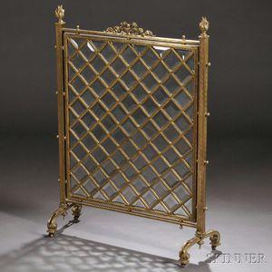 Bronze and Beveled Glass Firescreen