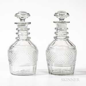 Pair of Anglo-Irish Cut Glass Decanters