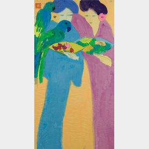 Walasse Ting  (Chinese/American, b. 1929)      Portrait of Two Beauties with Parrots