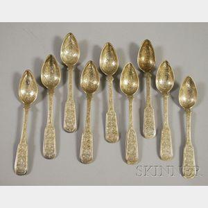 Nine Bright-cut Silver Teaspoons