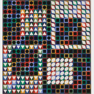 Victor Vasarely (Hungarian/French, 1906-1997)      Untitled (White with Colors)