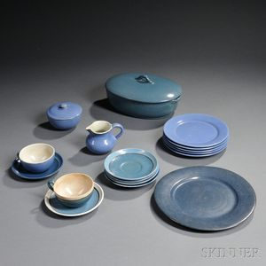Sixteen Pieces of Saturday Evening Girls/Paul Revere Pottery Dinnerware