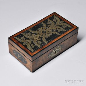 Burl and Ebony Veneer Brass-inlaid Cribbage Board/Box