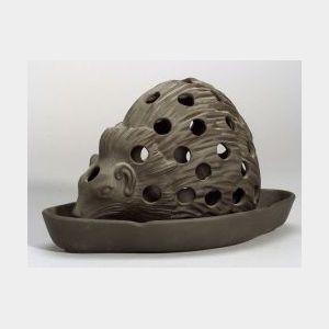 Wedgwood Black Basalt Hedgehog Crocus Pot and Stand
