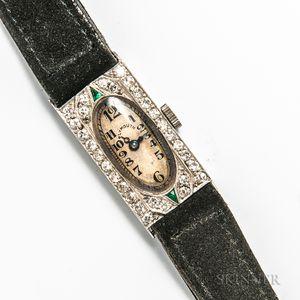 Art Deco Plymouth Platinum, Diamond, and Emerald Lady's Wristwatch