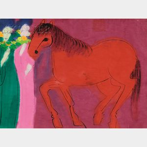 Walasse Ting  (Chinese/American, b. 1929)      Portrait of Two Beauties with a Red Horse