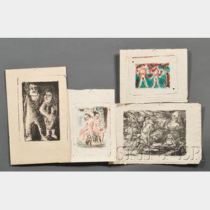 Lot of Four Prints:      Gladys M. Baker (American, 20th Century), Eve-Adam