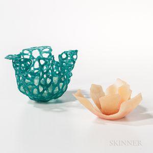 Two Etsuko Nishi Art Glass Sculptures