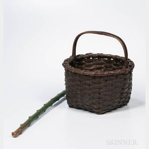 Gray/Green-painted Ash Splint Basket and Green-painted Walking Stick