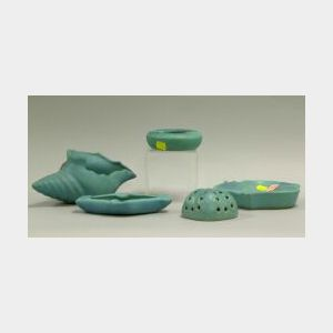 Five Van Briggle Pottery Turquoise Blue Matte Glazed Items.