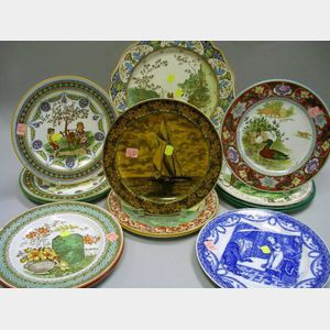Thirteen Assorted Wedgwood Transfer and Hand-Colored Plates and a Charger.