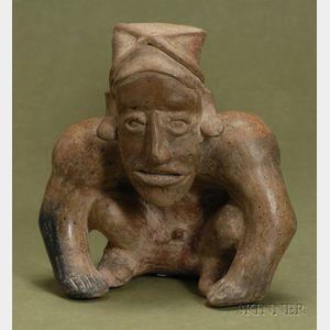 Pre-Columbian Seated Male Pottery Figure