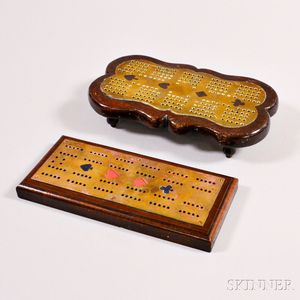 Two Brass and Wood Cribbage Boards