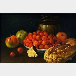 Bob Elgas (American, 20th Century)      Still Life with Fruit and Bread