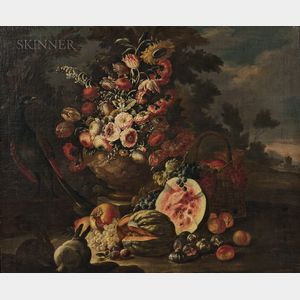 Attributed to Nicola Casissa (Italian, d. 1731)      Two Elaborate Still Life Compositions with Flowers, Fruit, and Animals