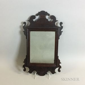 Small Chippendale Carved Mahogany Scroll-frame Mirror