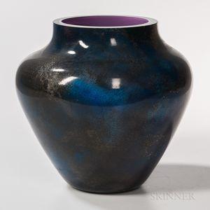 Blue Orb Art Glass Vase