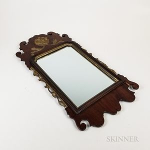 Queen Anne-style Carved and Parcel-gilt Walnut Scroll-frame Mirror
