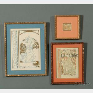 Lot of Three Prints by      Alphonse Maria Mucha, (Czech 1860-1939): La Plume