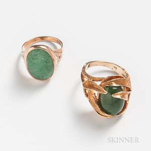 Two 14kt Gold and Green Hardstone Rings