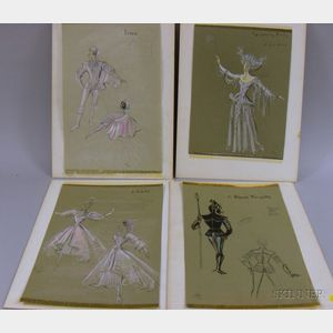 Group of Designs for Ballet and Various Stage Productions