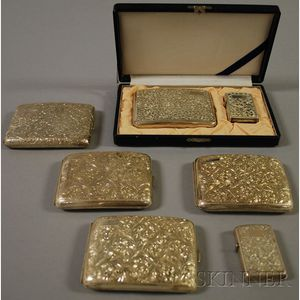 Group of Silver Cigarette Cases and Smoking Accessories