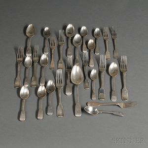 Miscellaneous English Sterling Silver Forks and Spoons