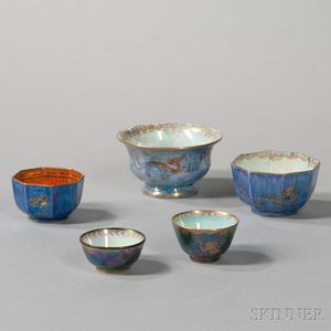 Five Wedgwood Lustre Bowls