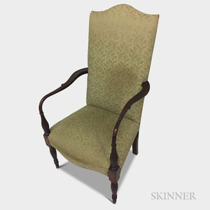 Federal-style Upholstered and Carved Mahogany Lolling Chair