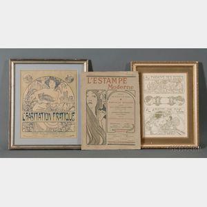 Lot of Three Prints by      Alphonse Maria Mucha (Czech 1860-1939),   Au Paradis des Bebes Etrennes! / Al arbres de Noel