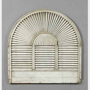 White-painted Arched Louvered Wood Shutter