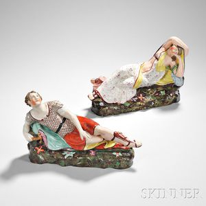 Pair of Staffordshire Earthenware Anthony and Cleopatra Figures