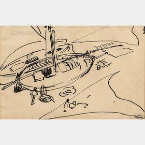 André Derain (French, 1880-1954)      Un bateau sur le quai