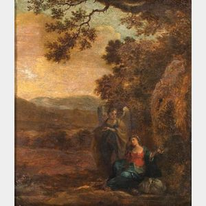 Italian School, 18th Century    Lot of Two Works Including: Hagar and the Angel in the Wilderness and Saint Jerome at Prayer