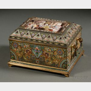 Sold for: $787,000 - Fine Khlebnikov Goldwashed, Enameled, and Jeweled Silver Casket