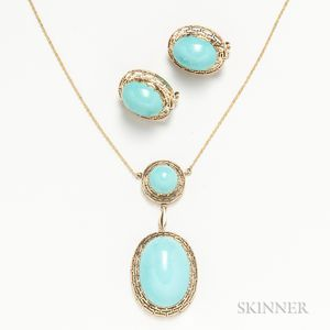 14kt Gold and Treated Turquoise Necklace and Earrings