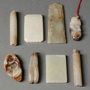 Eight Jade and Hardstone Items