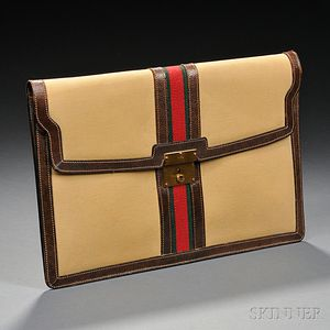 Gucci Canvas and Leather Envelope Case