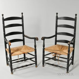Pair of Black-painted Slat-back Armchairs