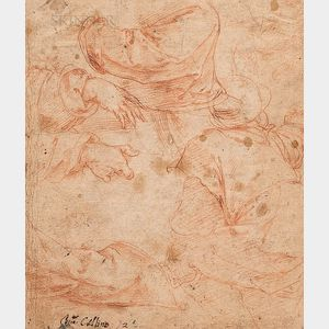 Italian School, 16th Century  Two Fragmentary Double-sided Sketches: Study of Hands and Drapery (verso sketch of a rinceau an...