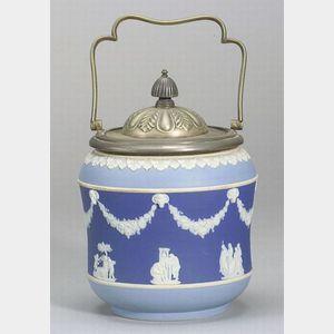 Wedgwood Silver Plate Mounted Three-Color Jasper Dip Biscuit Jar