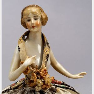 Porcelain Nude Half Doll Pincushion